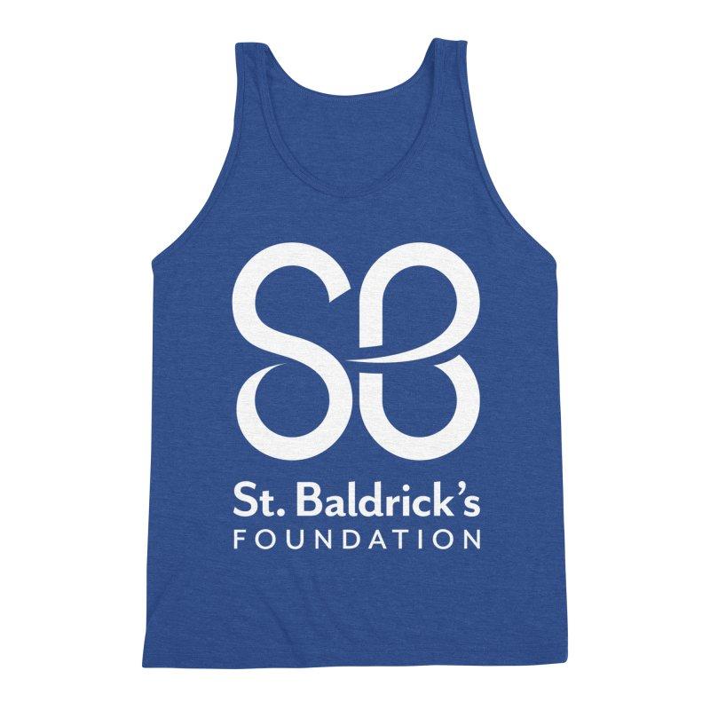 White Stacked Logo Men's Triblend Tank by St Baldricks's Artist Shop