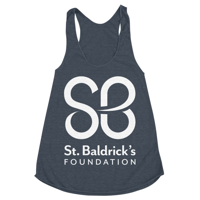 White Stacked Logo Women's Racerback Triblend Tank by St Baldricks's Artist Shop