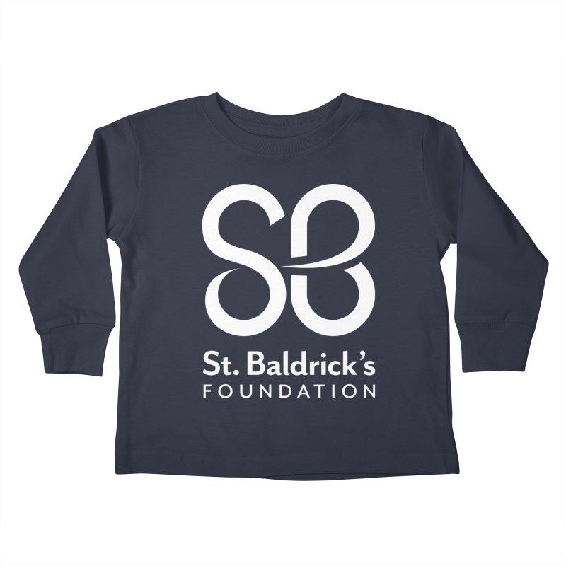 White Stacked Logo Kids Toddler Longsleeve T-Shirt by St Baldricks's Artist Shop