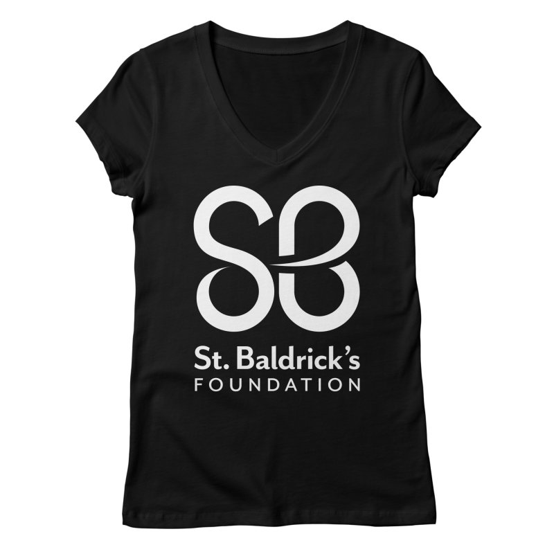 White Stacked Logo Women's Regular V-Neck by St Baldricks's Artist Shop