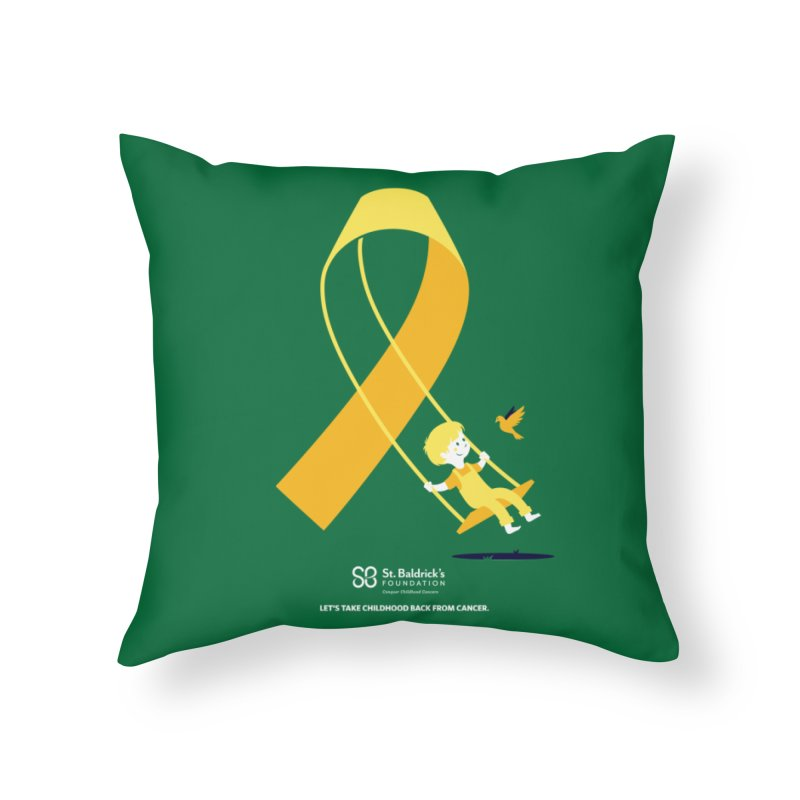 Hope and Happiness - Let's Take Childhood Back From Cancer in Throw Pillow by St Baldricks's Artist Shop