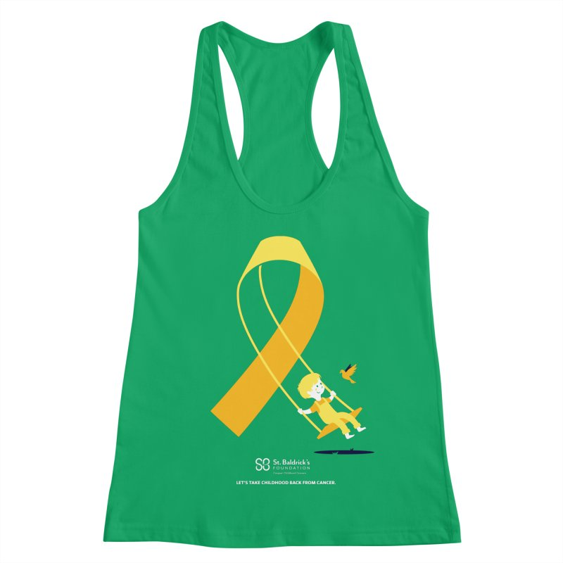 Hope and Happiness - Let's Take Childhood Back From Cancer Women's Racerback Tank by St Baldricks's Artist Shop
