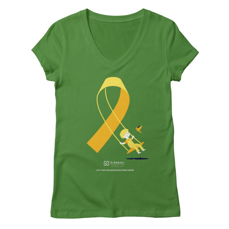 Hope and Happiness - Let's Take Childhood Back From Cancer Women's Regular V-Neck by St Baldricks's Artist Shop