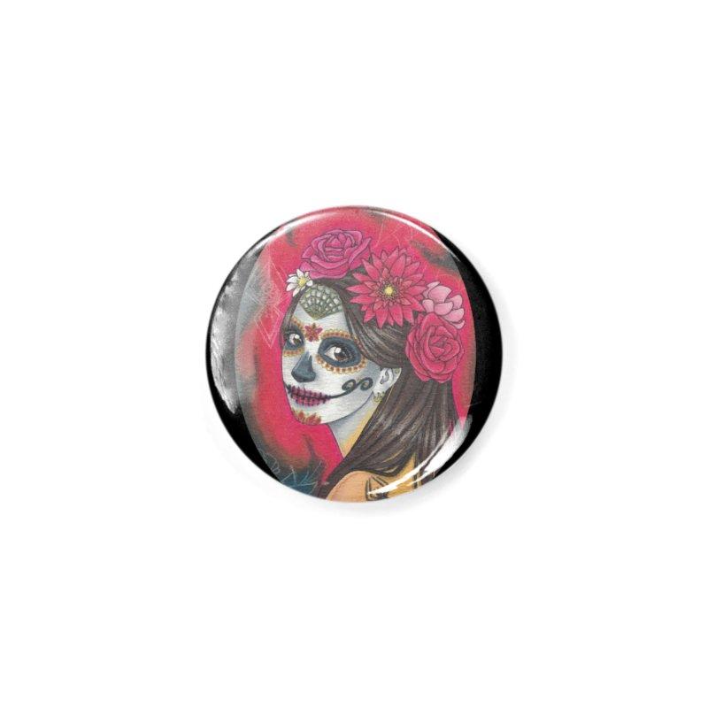 Girl on Dia de los Muertos Accessories Button by SteampunkEngineer's Shop
