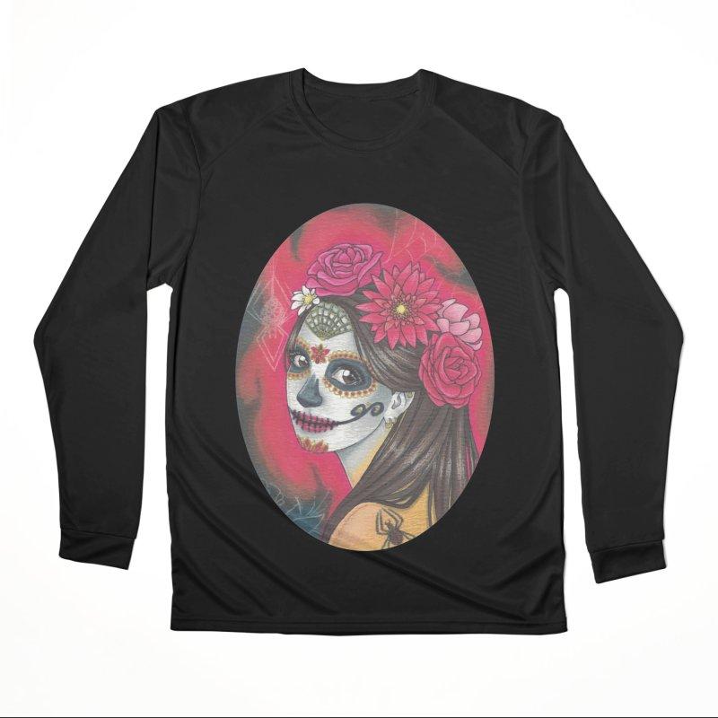 Girl on Dia de los Muertos Men's Performance Longsleeve T-Shirt by SteampunkEngineer's Shop