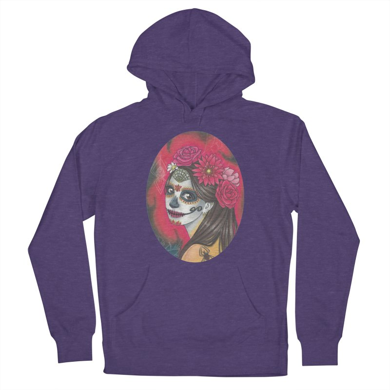 Girl on Dia de los Muertos Men's French Terry Pullover Hoody by SteampunkEngineer's Shop