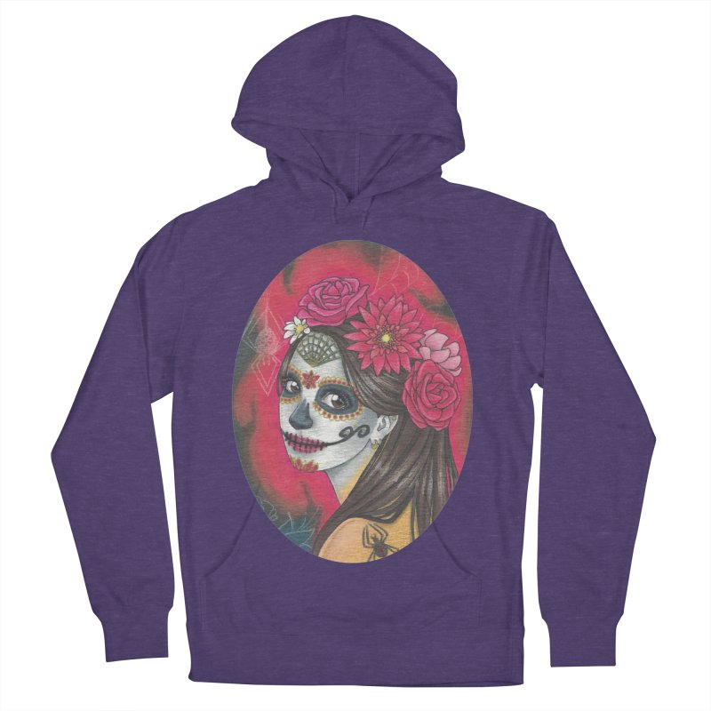 Girl on Dia de los Muertos Women's French Terry Pullover Hoody by SteampunkEngineer's Shop