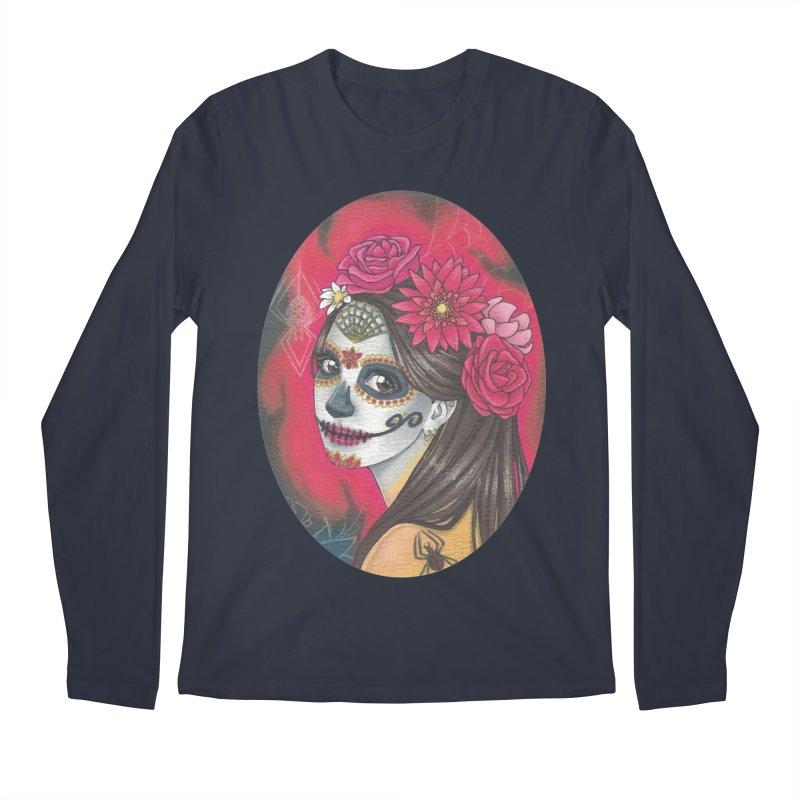 Girl on Dia de los Muertos Men's Regular Longsleeve T-Shirt by SteampunkEngineer's Shop