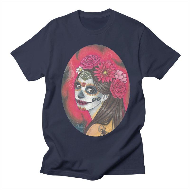 Girl on Dia de los Muertos Men's Regular T-Shirt by SteampunkEngineer's Shop