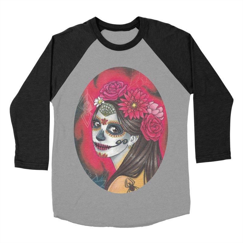 Girl on Dia de los Muertos Men's Baseball Triblend Longsleeve T-Shirt by SteampunkEngineer's Shop