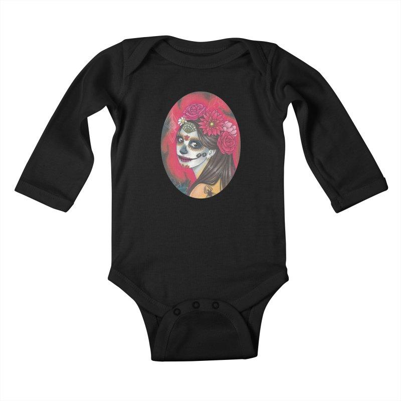 Girl on Dia de los Muertos Kids Baby Longsleeve Bodysuit by SteampunkEngineer's Shop