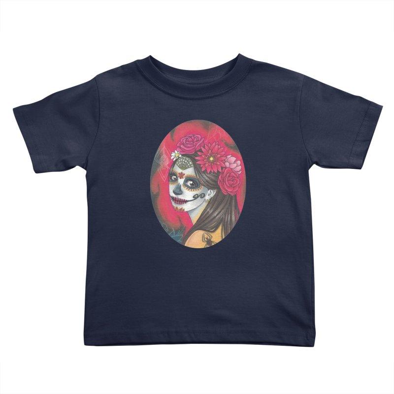 Girl on Dia de los Muertos Kids Toddler T-Shirt by SteampunkEngineer's Shop