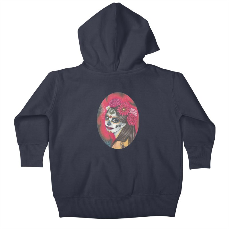 Girl on Dia de los Muertos Kids Baby Zip-Up Hoody by SteampunkEngineer's Shop