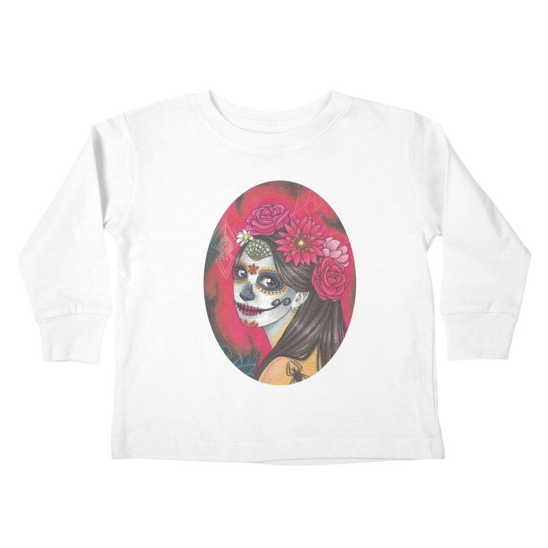Girl on Dia de los Muertos Kids Toddler Longsleeve T-Shirt by SteampunkEngineer's Shop