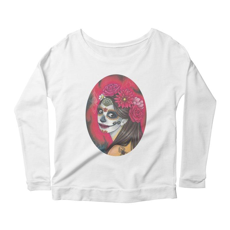 Girl on Dia de los Muertos Women's Scoop Neck Longsleeve T-Shirt by SteampunkEngineer's Shop