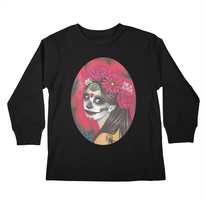 Girl on Dia de los Muertos Kids Longsleeve T-Shirt by SteampunkEngineer's Shop