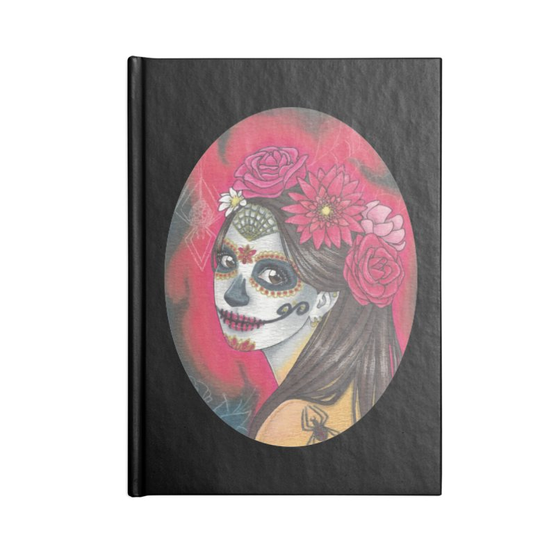 Girl on Dia de los Muertos Accessories Lined Journal Notebook by SteampunkEngineer's Shop