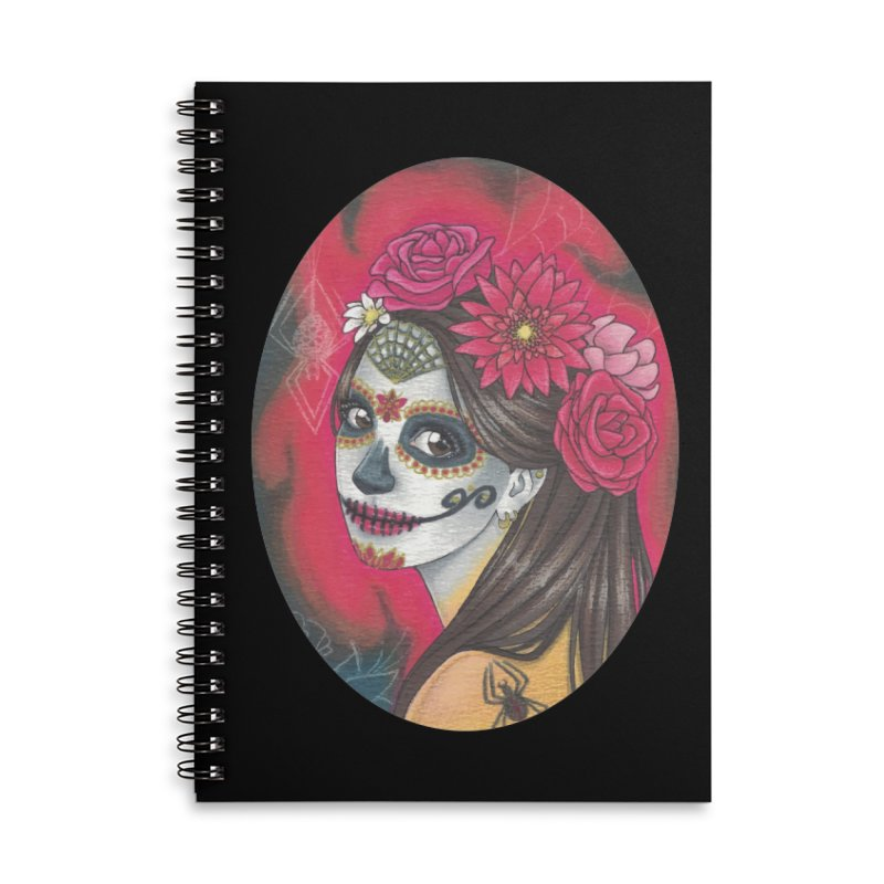 Girl on Dia de los Muertos Accessories Lined Spiral Notebook by SteampunkEngineer's Shop