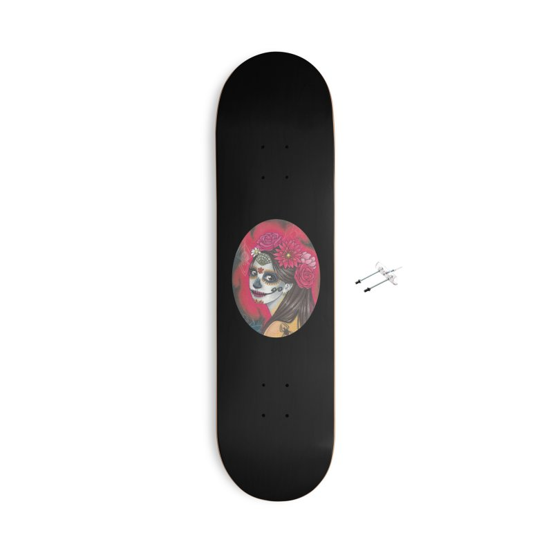 Girl on Dia de los Muertos Accessories With Hanging Hardware Skateboard by SteampunkEngineer's Shop