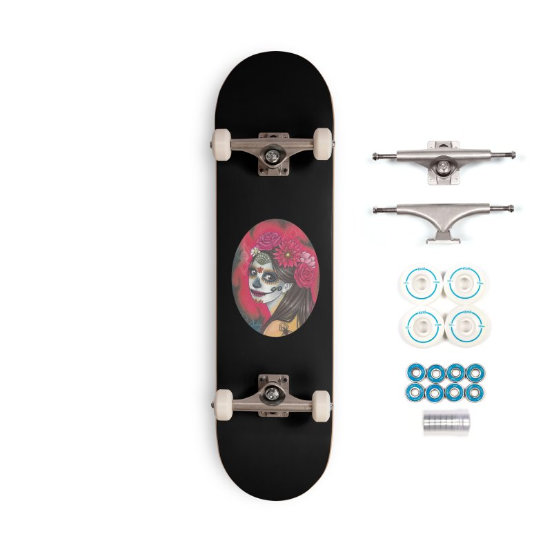 Girl on Dia de los Muertos Accessories Complete - Basic Skateboard by SteampunkEngineer's Shop