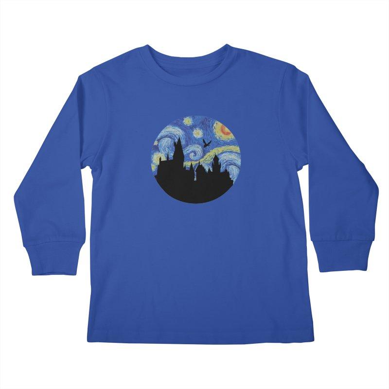 Hogwarts Starry Night Kids Longsleeve T-Shirt by SteampunkEngineer's Shop