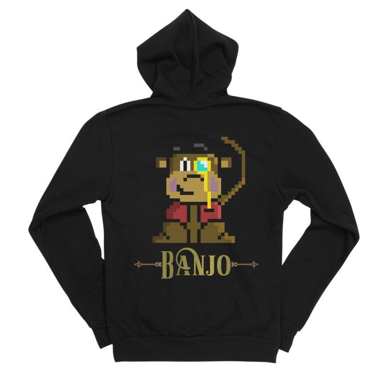 Banjo the Biosynthetic Monkey Women's Sponge Fleece Zip-Up Hoody by steamwhistlealley's Artist Shop