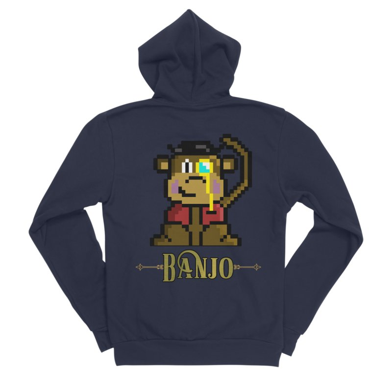 Banjo the Biosynthetic Monkey Men's Sponge Fleece Zip-Up Hoody by steamwhistlealley's Artist Shop