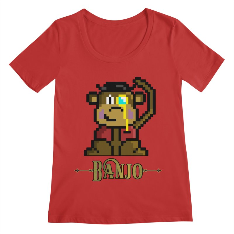 Banjo the Biosynthetic Monkey Women's Regular Scoop Neck by steamwhistlealley's Artist Shop