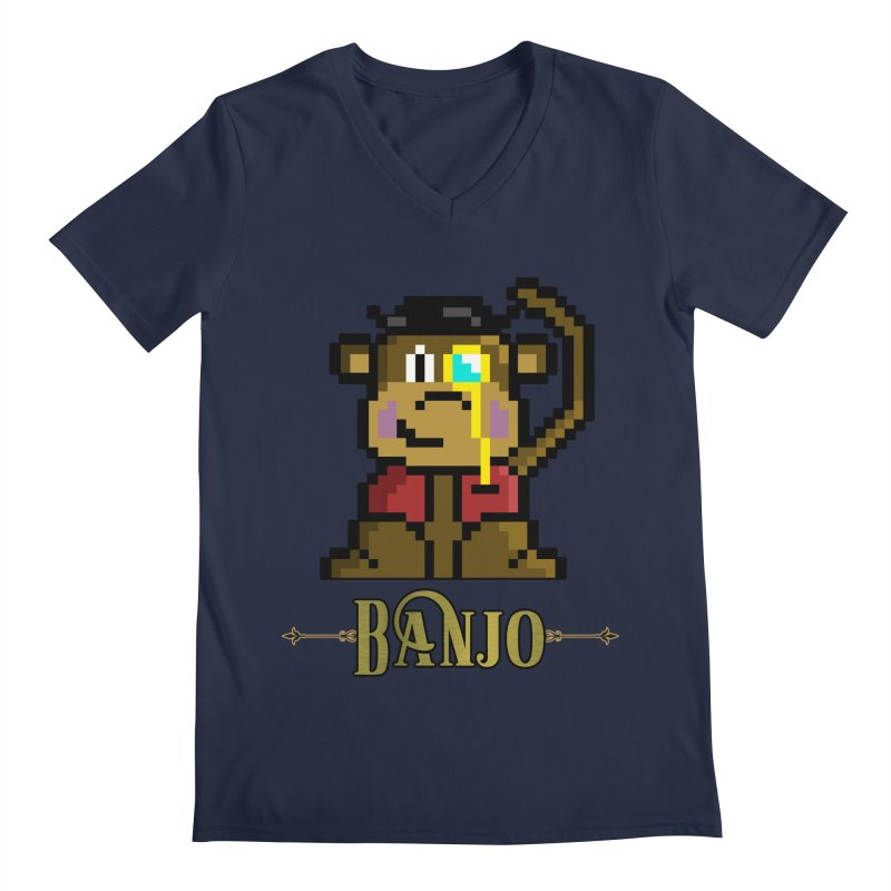 Banjo the Biosynthetic Monkey Men's Regular V-Neck by steamwhistlealley's Artist Shop