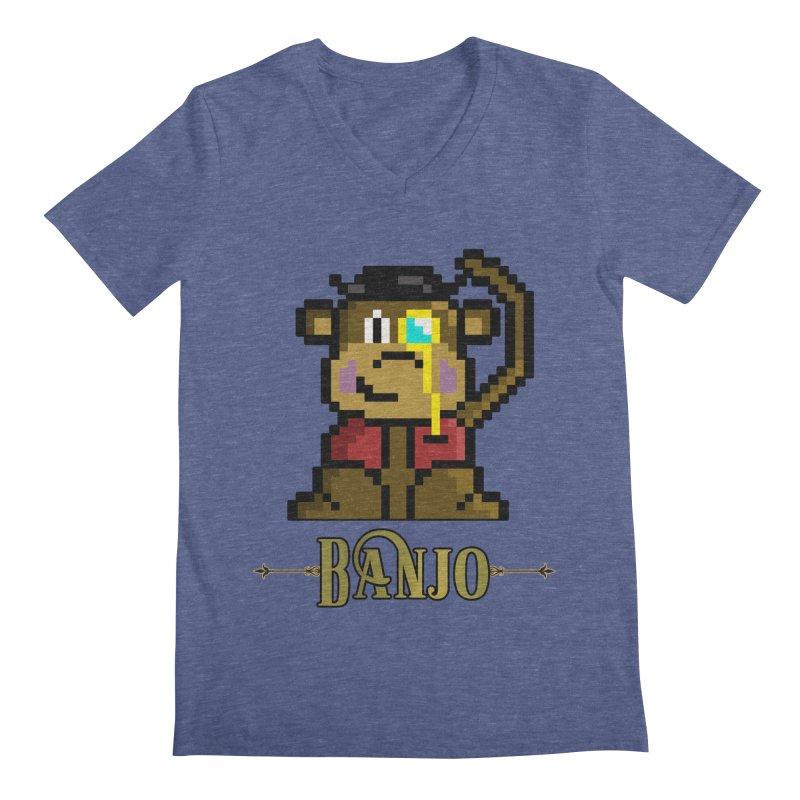 Banjo the Biosynthetic Monkey Men's Regular V-Neck by steamwhistlealley's Artist Shop