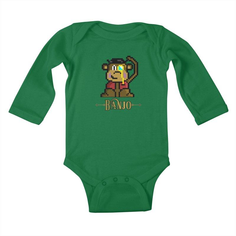 Banjo the Biosynthetic Monkey Kids Baby Longsleeve Bodysuit by steamwhistlealley's Artist Shop