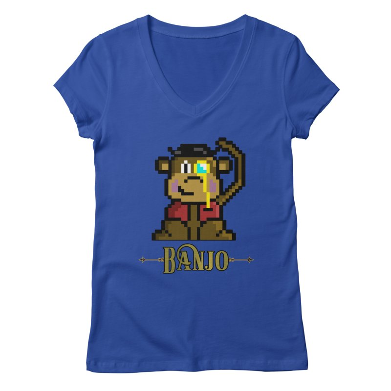 Banjo the Biosynthetic Monkey Women's Regular V-Neck by steamwhistlealley's Artist Shop