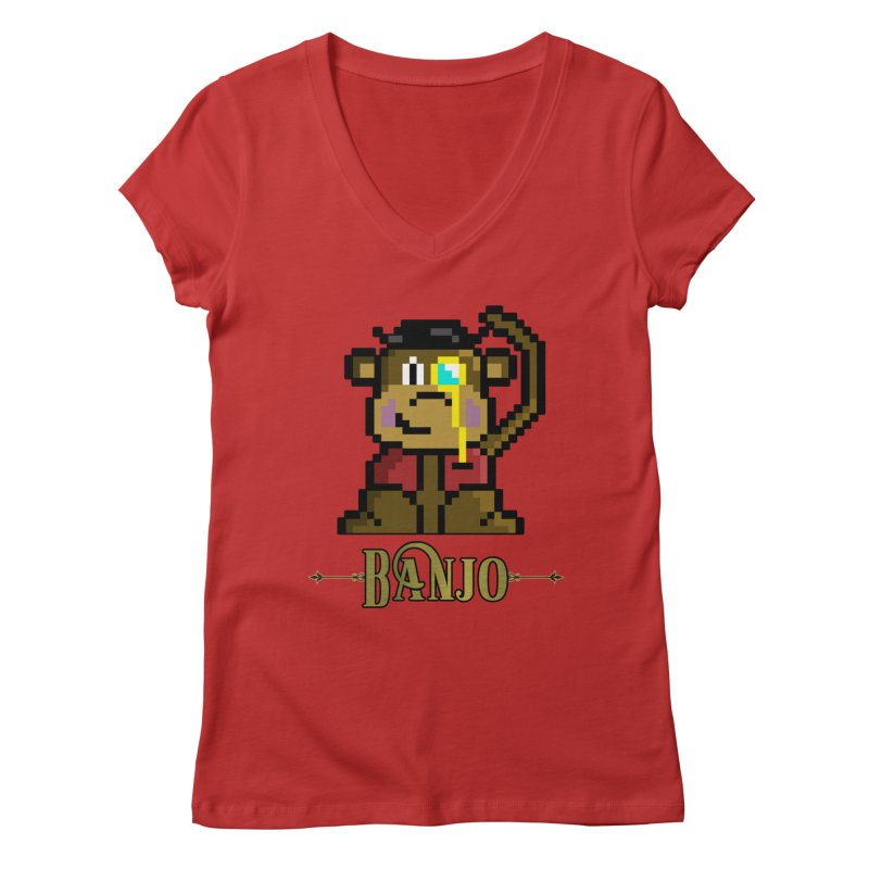 Banjo the Biosynthetic Monkey Women's Regular V-Neck by steamwhistlealley's Artist Shop