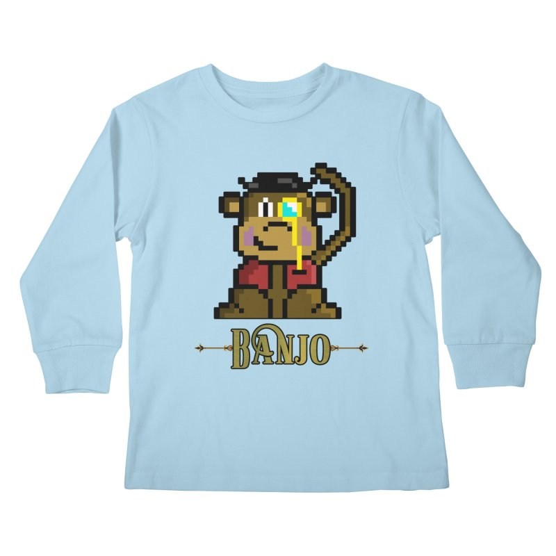 Banjo the Biosynthetic Monkey Kids Longsleeve T-Shirt by steamwhistlealley's Artist Shop