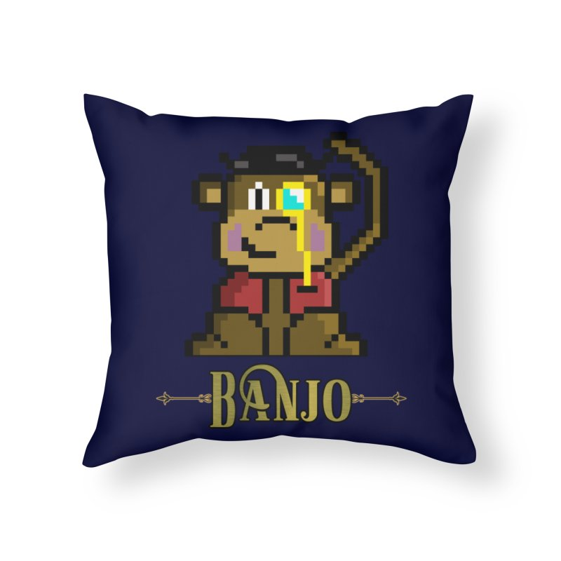 Banjo the Biosynthetic Monkey Home Throw Pillow by steamwhistlealley's Artist Shop