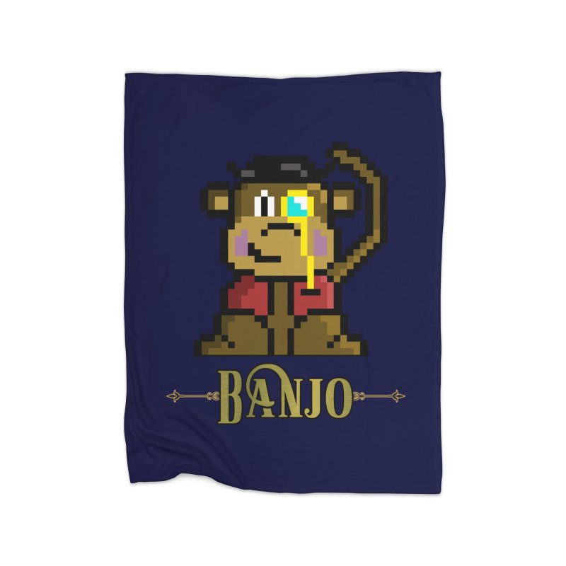 Banjo the Biosynthetic Monkey Home Fleece Blanket Blanket by steamwhistlealley's Artist Shop