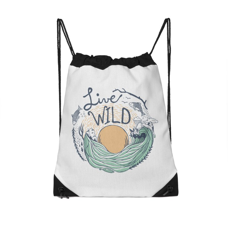 Live Wild Accessories Drawstring Bag Bag by Steger