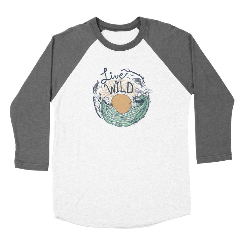 Live Wild Men's Baseball Triblend Longsleeve T-Shirt by Steger