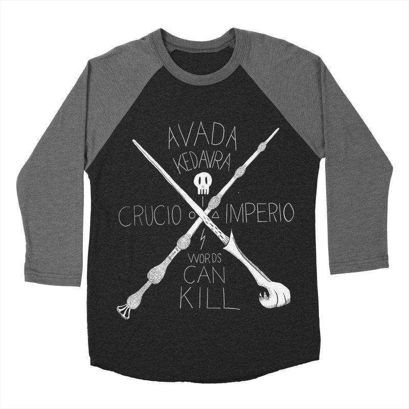 Words Can Kill Men's Baseball Triblend Longsleeve T-Shirt by Steger