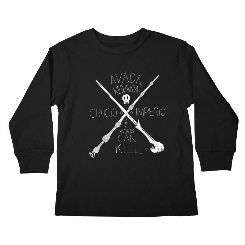 Words Can Kill Kids Longsleeve T-Shirt by Steger