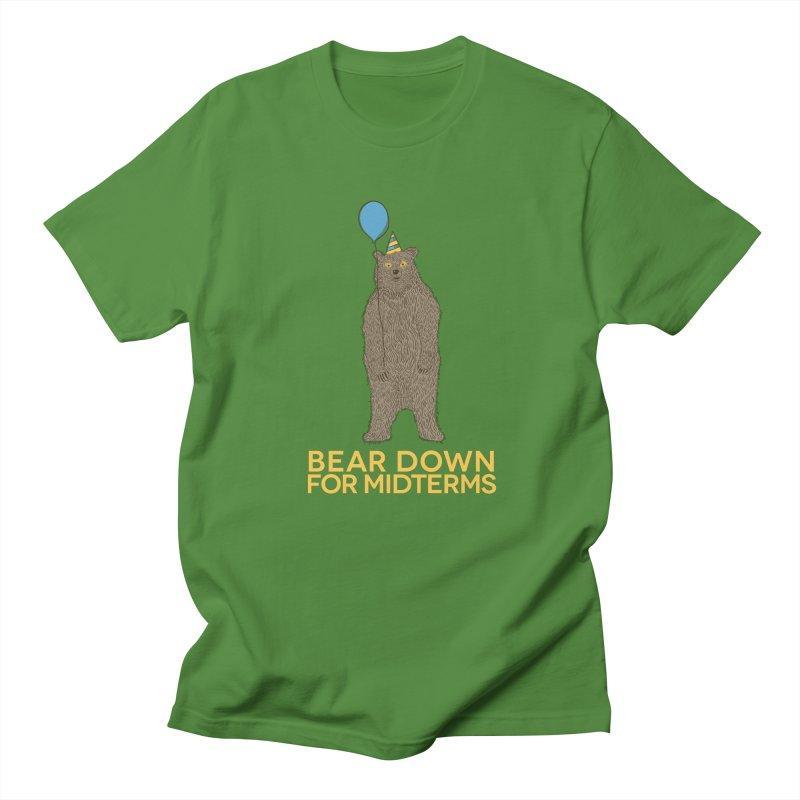 Bear Down for Midterms in Men's Regular T-Shirt Clover by Steger
