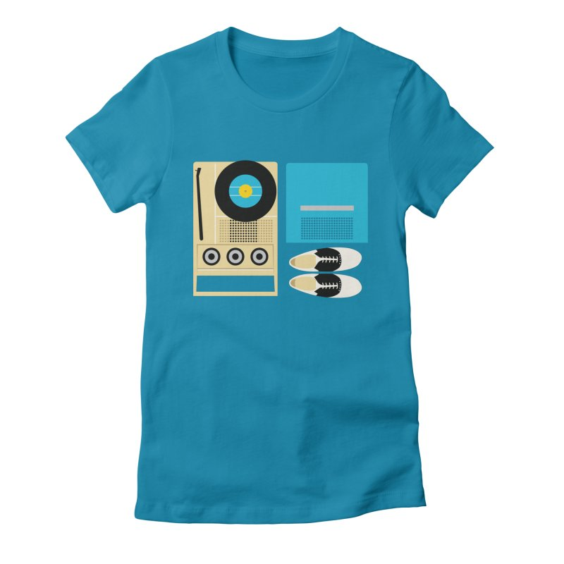 Moonrise Record Women's Fitted T-Shirt by Steger