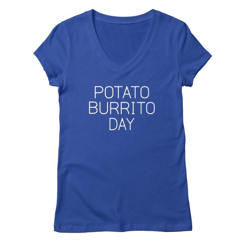 Potato Burrito Day Women's Regular V-Neck by Steger