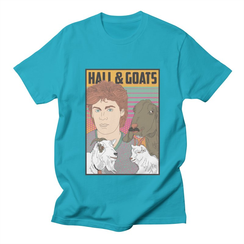 and Goats in Men's Regular T-Shirt Cyan by Steger
