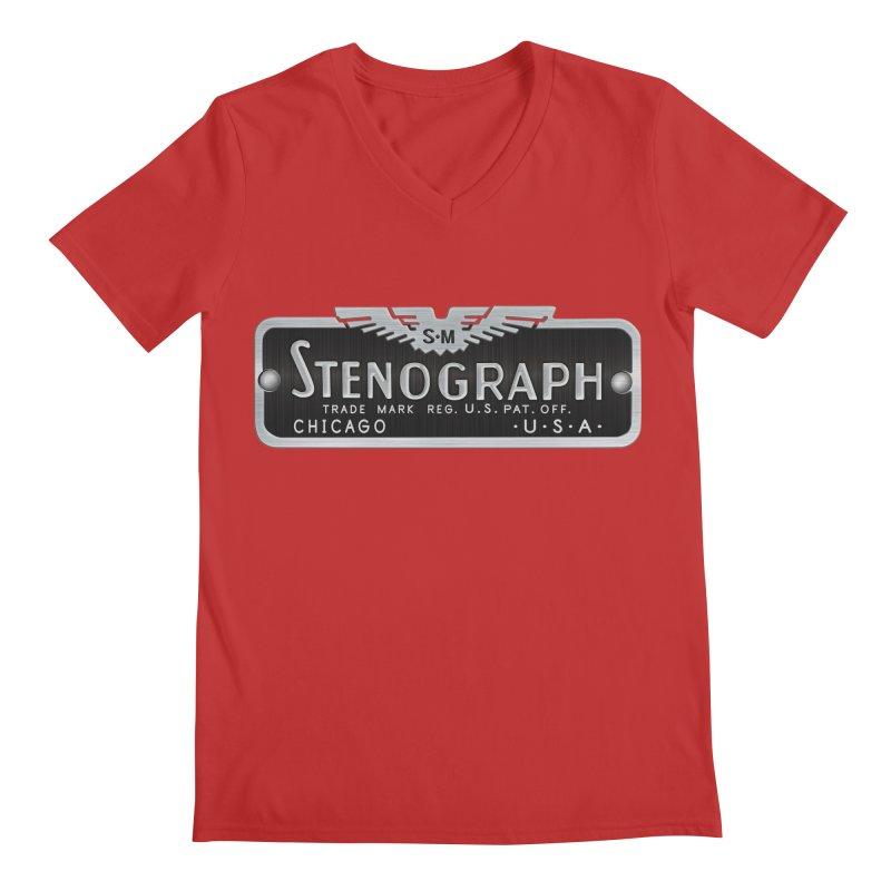 Stenograph Vintage Logo Men's Regular V-Neck by Stenograph's Artist Shop