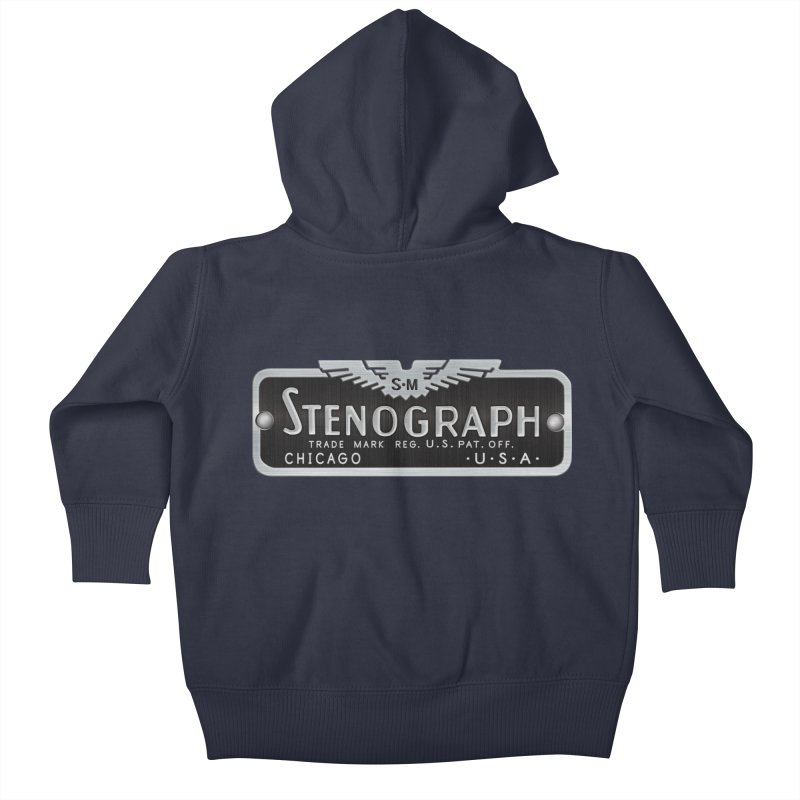 Stenograph Vintage Logo Kids Baby Zip-Up Hoody by Stenograph's Artist Shop