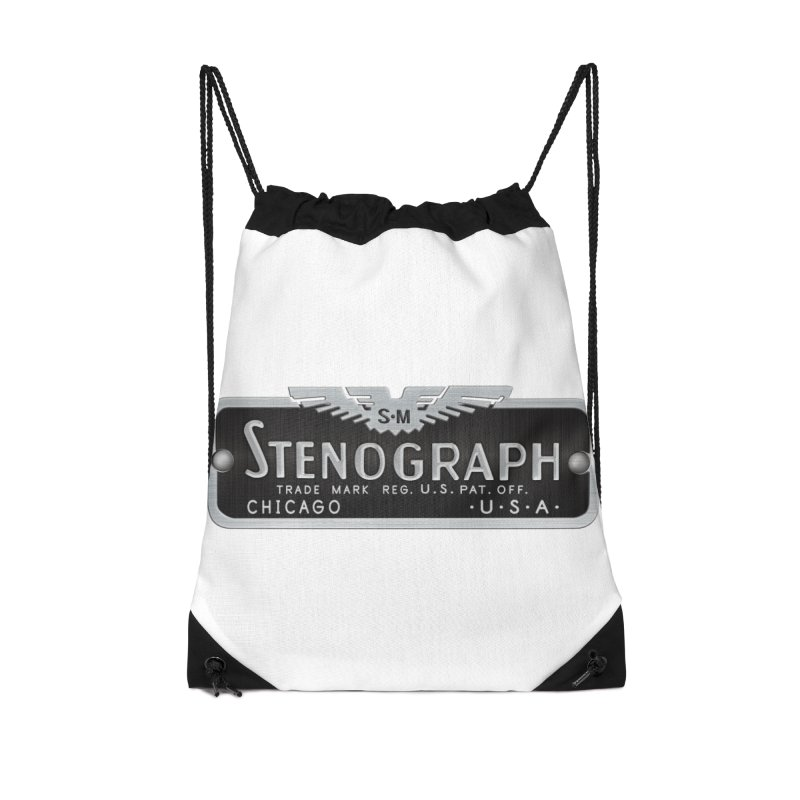 Stenograph Vintage Logo Accessories Drawstring Bag Bag by Stenograph's Artist Shop