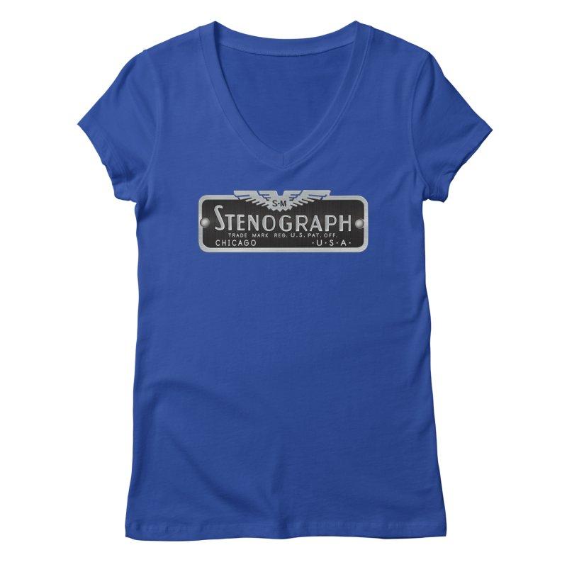 Stenograph Vintage Logo Women's V-Neck by Stenograph's Artist Shop