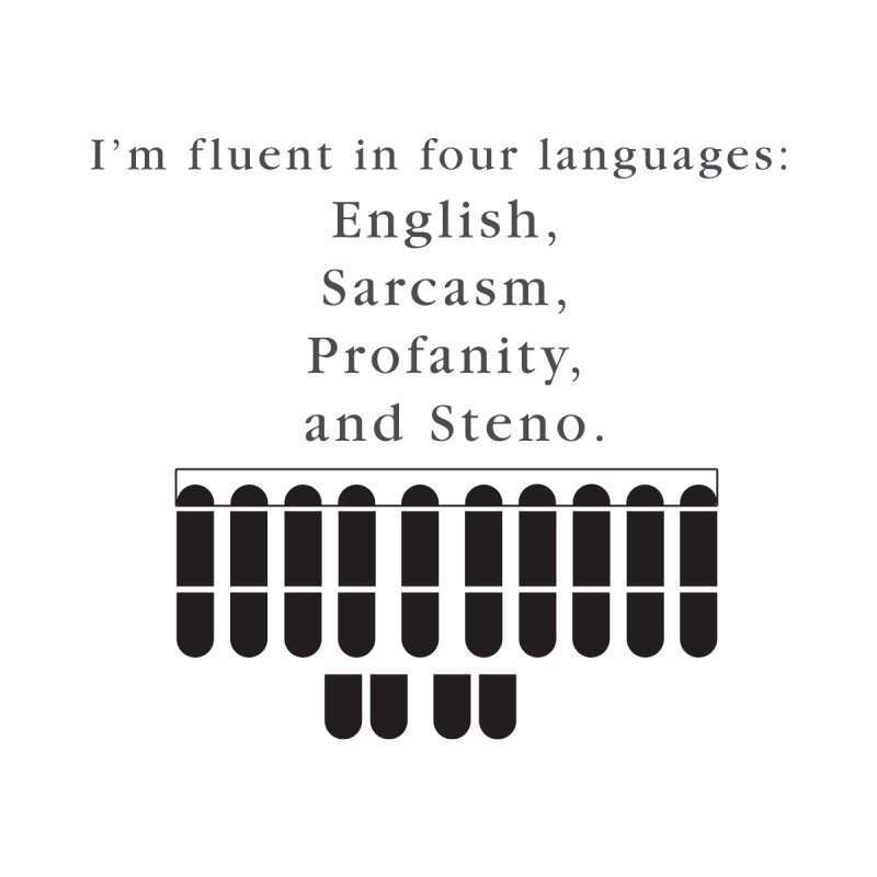 Fluent in Four Languages Kids T-Shirt by Stenograph's Artist Shop