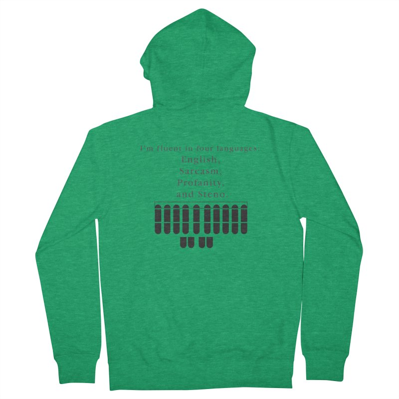 Fluent in Four Languages Men's French Terry Zip-Up Hoody by Stenograph's Artist Shop